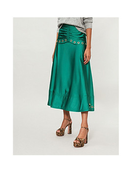 eyelet-embellished-satin-midi-skirt by self-portrait