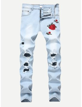 Men Rose Embroidery Skinny Destroyed Jeans by Romwe