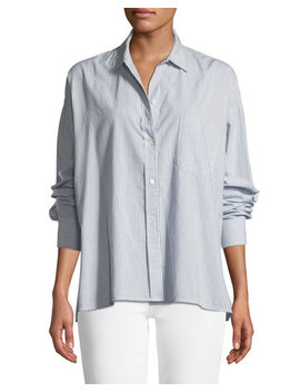 Striped Boxy Button Down Top by Vince