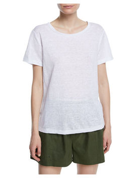 Short Sleeve Linen Crewneck Tee by Vince