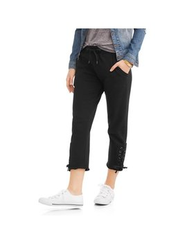 N.Y.L. Sport Women's Athleisure Lace Up Ankle French Terry Capri Jogger Pants by N.Y.L. Sport