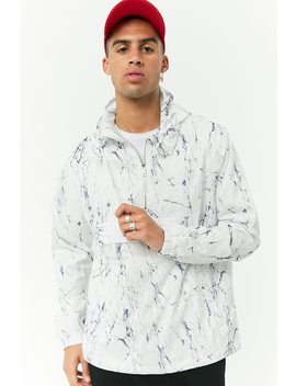 Marble Print Hooded Anorak by Forever 21
