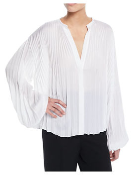 Pleated V Neck Blouson Sleeve Blouse by Vince
