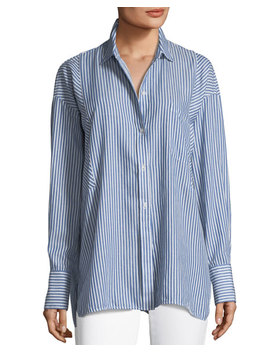 Classic Stripe Long Sleeve Tunic Shirt by Vince
