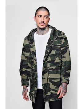 4 Pocket Hooded Camo Field Jacket by Boohoo