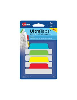 "Avery Ultra Tabs, 2.5"" X 1"", 2 Side Writable, Red/Yellow/Green, 24 Repositionable Margin Tabs (74768) by Avery"