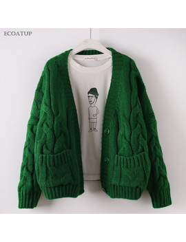 Crossing Open Knit Sweater Women  Normcore Drop Shoulder Twist Thicken Cable Open Stitch Jacket Female Oversized Cardigan by Ecoatup
