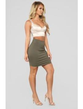 So Set Mini Ponte Skirt   Olive by Fashion Nova