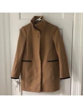 Ann Taylor Camel Pea Coat With Black Leather Trim by Ann Taylor