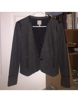 Stylish Grey Blazer With Faux Leather Trimming! by Halogen
