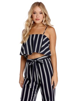 Striped And Flowy Crop Top by Windsor