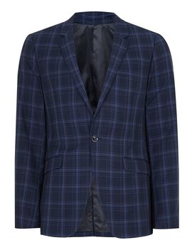 Navy And Blue Check Skinny Jacket by Topman