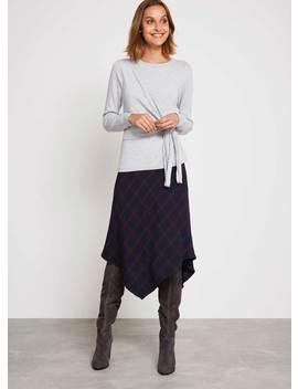 Ink Check Fishtail Skirt by Mint Velvet