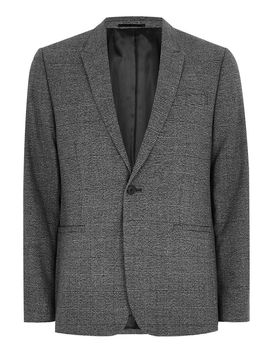 Charcoal Tonal Check Skinny Suit Jacket by Topman