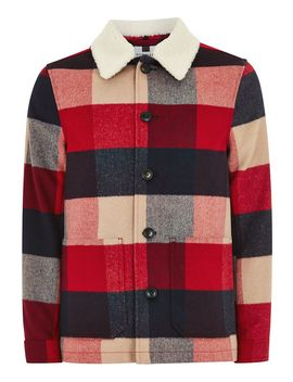 Borg Collar Check Shacket by Topman