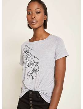 Silver Grey Linear Printed Tee by Mint Velvet
