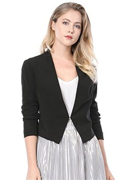 Women's Collarless Work Office Business Casual Cropped Blazer by Allegra K