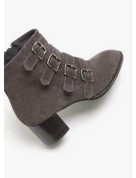 Hope Grey Suede Buckled Boot by Mint Velvet