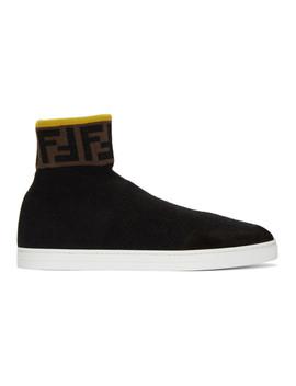 Black 'forever Fendi' Knit Sneakers by Fendi