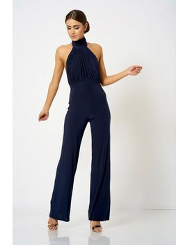 **High Neck Halter Jumpsuit By Club L London by Topshop
