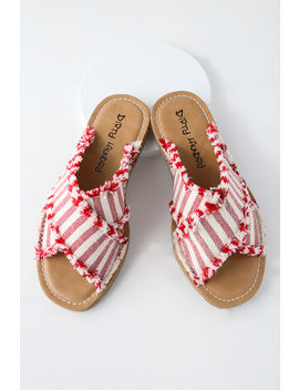 Edina Red Striped Slide Sandals by Lulu's