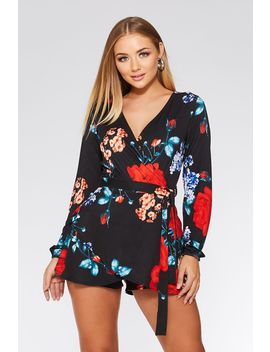 Black Red And Blue Floral Long Sleeve Playsuit by Quiz