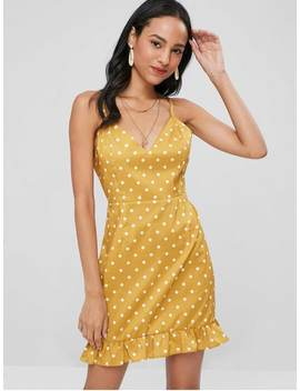 Ruffles Polka Dot Cami Dress   Golden Brown L by Zaful