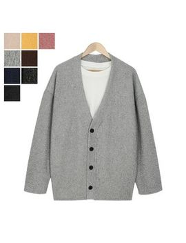V Neck Buttoned Knit Cardigan by Dangoon