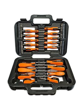 Screwdriver Set 58pc, Hand Screwdriver Bit Tool Set, Ergonomically Designed Handles Manufactured From Hardened Chrome Vanadium Steel, Precision Phillips, Slotted Screw Driver Bits Complete In Carry Storage Case by Terratek