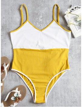Two Tone Cami Bodysuit   Yellow S by Zaful