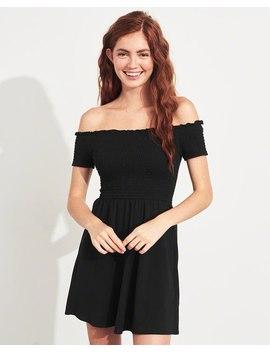 smocked-off-the-shoulder-knit-dress by hollister
