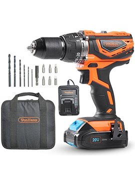 Von Haus Cordless Drill Driver With 2.0 Ah Li Ion 20 V Max Battery, Charger, 13pc Bit Set & Power Tool Bag – Hammer Function, Led Work Light And Variable Speed Trigger (13mm Metal Alloy Chuck, 38 Nm) by Von Haus