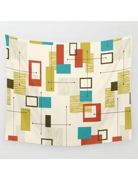 Mid Century Modern, Sputnik Pattern Wall Tapestry by