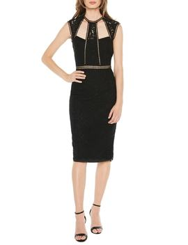 Splice Panel Lace Cocktail Dress by Bardot
