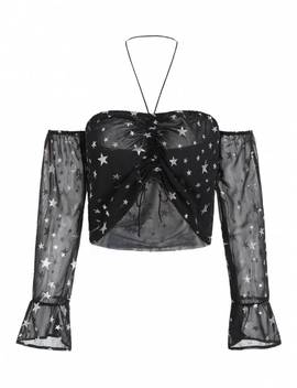Cinched Shiny Star Top   Black L by Zaful
