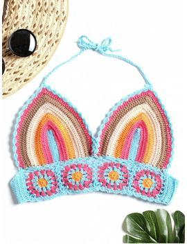Striped Crochet Bralettte Top   Multi by Zaful