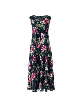 Lands' End   Blue Women's Floral Midi Dress by Lands' End