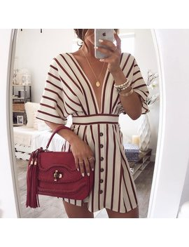2018 New Fashion Summer Women Low Cut Elegant Mini Dress Vertical Stripe Plunge Button Design Casual Dress by Misomee