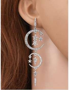 Rhinestone Moon Stars Drop Earrings   Silver by Zaful