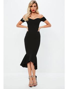 Black Bardot Fishtail Midi Dress by Missguided