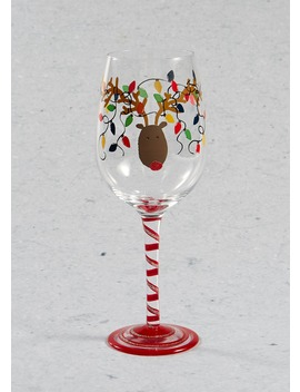 Hand Painted Reindeer Christmas Wine Glass (23cm X 7cm) by Matalan