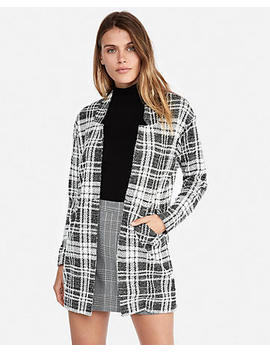 Plaid Tailored Knit Blazer by Express