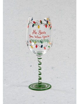 Hand Painted Christmas Wine Glass (23cm X 7cm) by Matalan