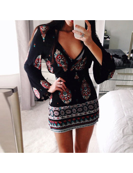 Spring Women Sexy V Neck Long Flare Sleeve Boho Floral Print Sheath Party Beach Mini Dress Vintage Low Cut Slim Fitted Vestido by Ai Enny