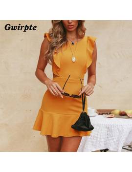 Gwirpte  2018  New Summer Dress Women Sweet Cute Pleated   Dresses Black Golden Yellow  Backless Sleeveless Button Down Dress by Gwirpte