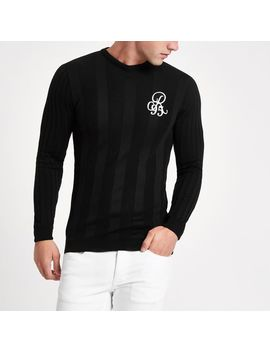 Black Rib Muscle Fit Long Sleeve Jumper by River Island