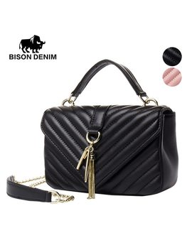 Bison Denim Genuine Sheepskin Women Messenger Tassel Bags Famous Brands Design Luxury Crossbody Bags Perfect Gift For Girl N1382 by Bison Denim