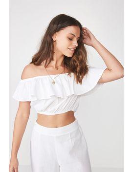 Monica Off Shoulder Linen Blend Top by Cotton On