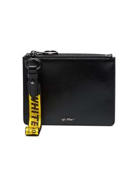 Off White Black Double Flat Leather Pouch by Off White