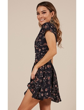 Deep Wide Ocean Dress In Navy Floral by Showpo Fashion